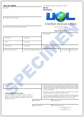 UOL Bill of Lading (front)